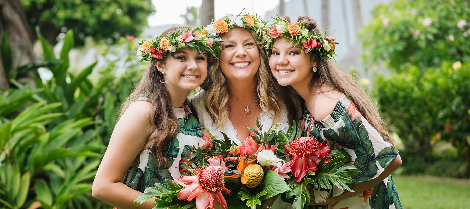Family, mother and daughters, at vow renewal on Kauai.